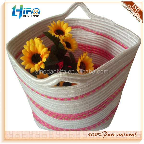 Newest 면 로프 coiled storage basket
