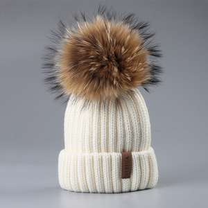 Winter fancy baby bonnets boys and girls cute children beanies plain color knitted baby pom hat