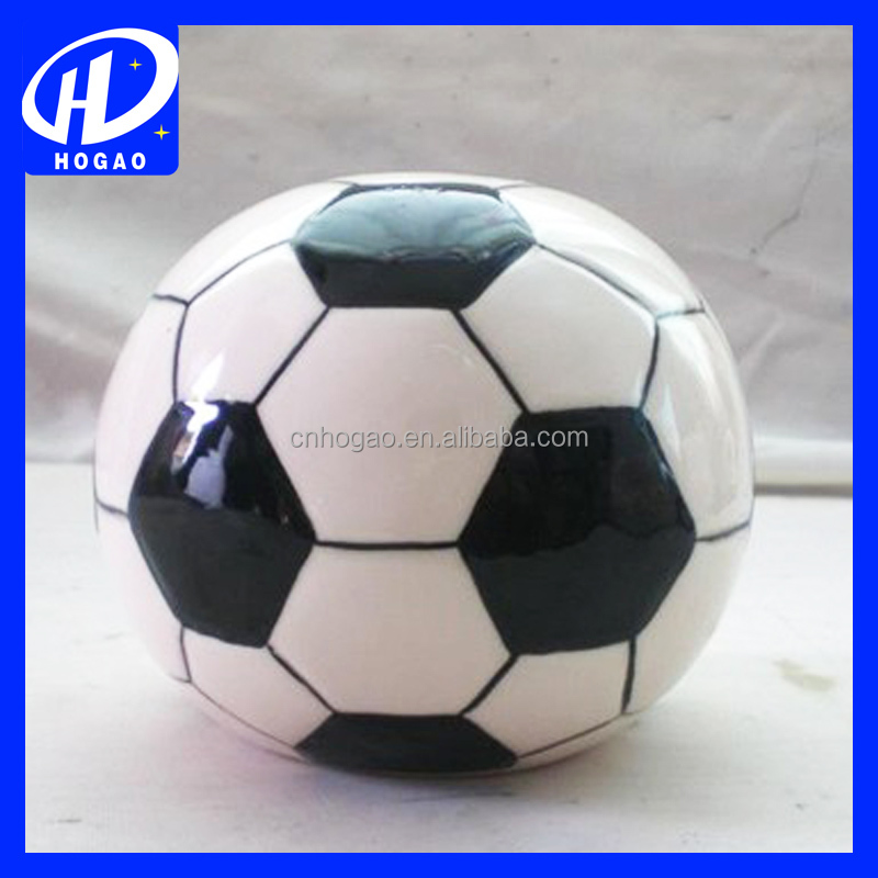 2016 High quality soccer shaped piggy bank promotional coin bank