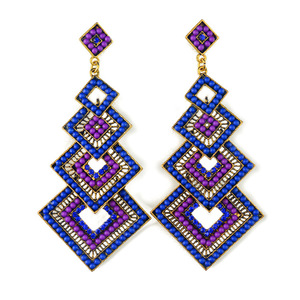 Ethnic Style Multicolor Resin Beads Decorated Long Statement Chandelier Drop Earrings