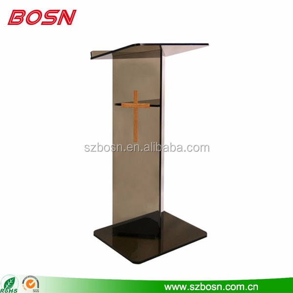 Smoke color high quality acrylic church lectern organic glass rostrum for sale