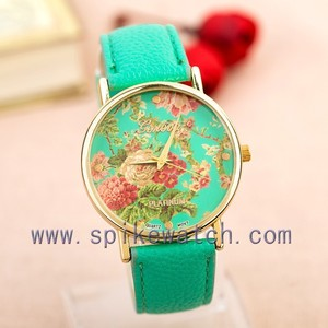 Round Dial Alloy Case Slim Leather Band Flowers new womens wrist watches