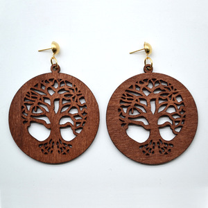 2018 Retro gold stud / hook hollow peace tree wooden drop earrings