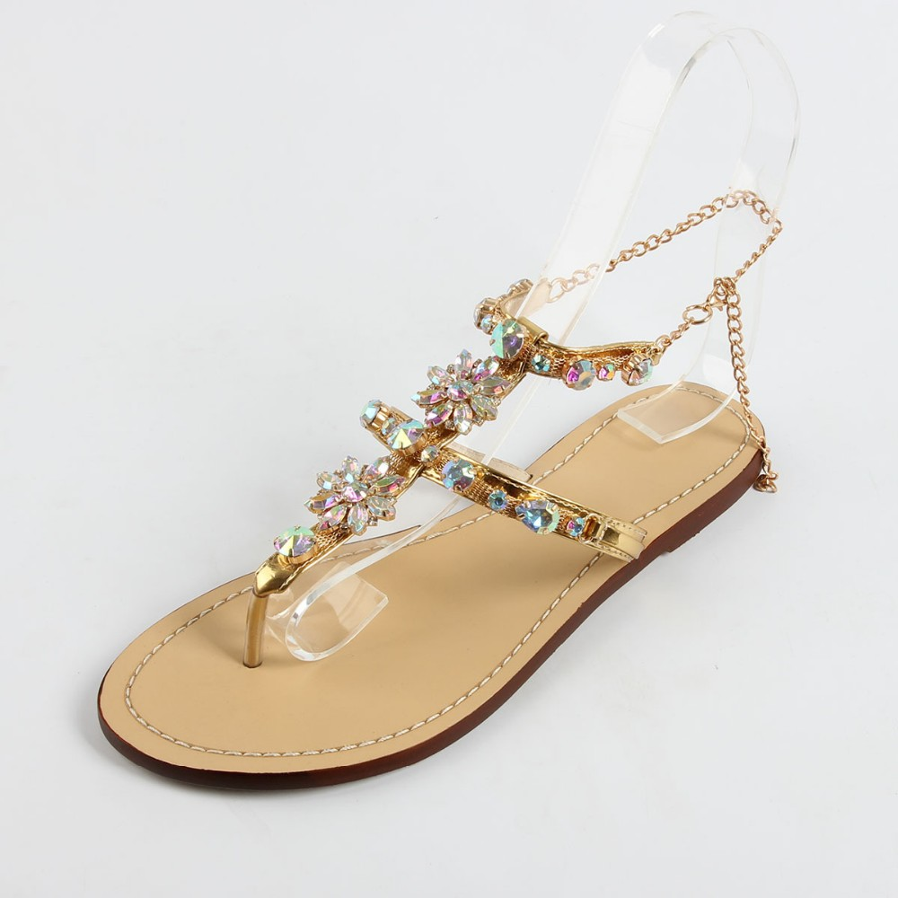 e37e9fbced642f 2018 Summer New Sandals Flat With Diamond Shoes - Buy New Designs ...