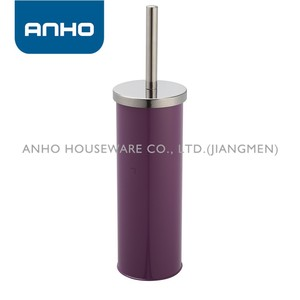 ANHO deep purple powder coated stainless steel cylindrical toilet brush 2016
