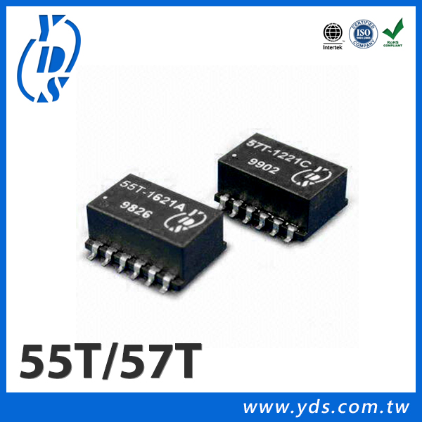 55T/57T Series T1/CEPT/ISDN-PRI Interface SMD Dual Transformer 1500Vrms Isolated . Extended And Standard Spec
