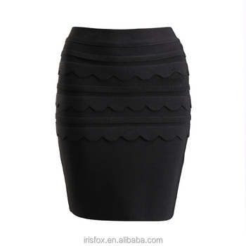 Black Mini Short Frilly Skirts With Lace Tight Pencil Skirt - Buy ...