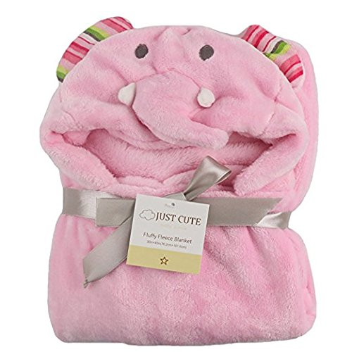 Hooded Baby Blanket Animal Super Soft Huggable Plush Hoodie Hello Kitty Lion Giraffe Bear Elephant (Elephant)