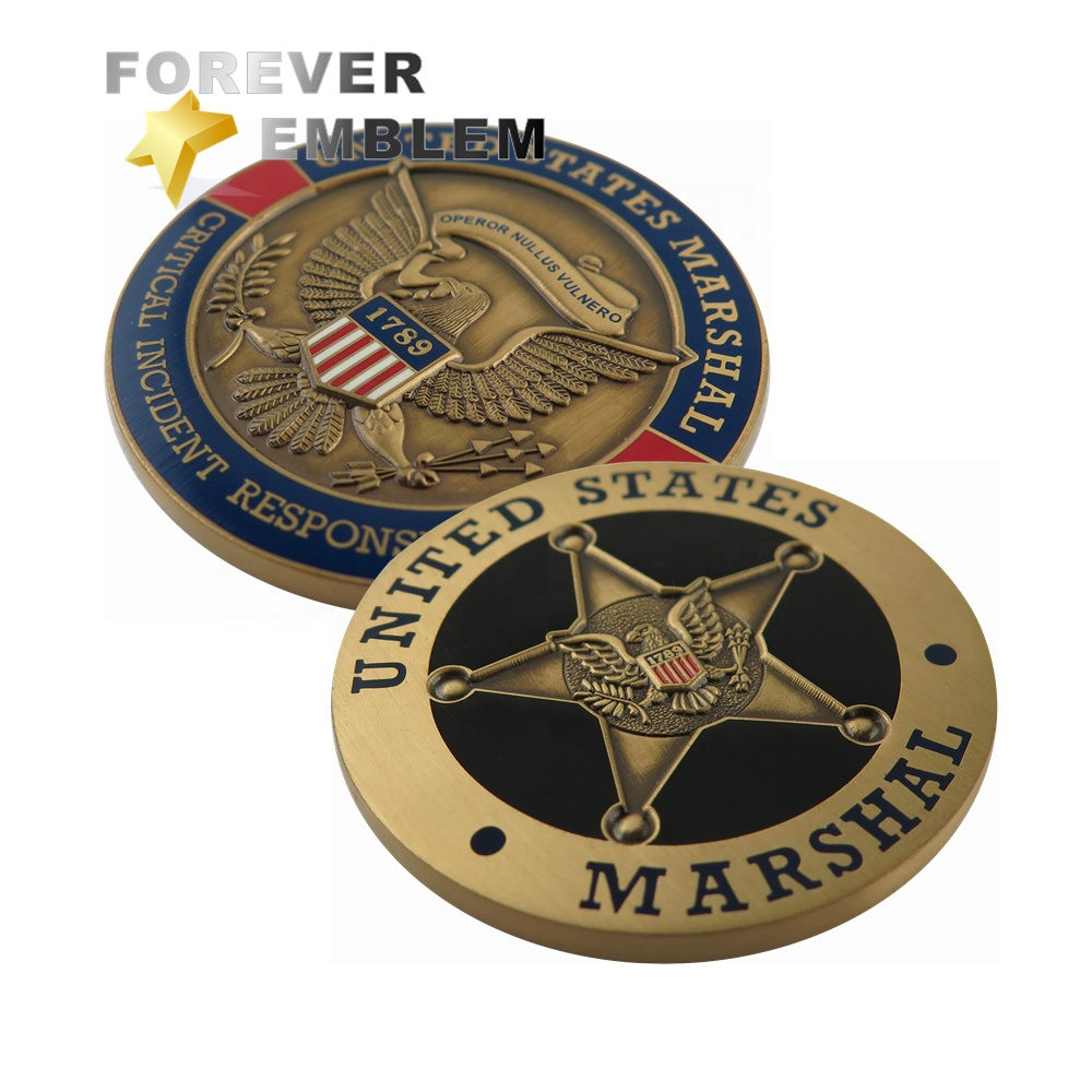 Custom Coin Maker US Marshals Militaire Uitdaging Munten Antieke Metalen Coin