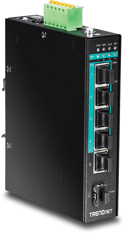 TRENDnet 5-Port Hardened Industrial Unmanaged Gigabit 10/100/1000 Mbps PoE+ DIN-Rail Switch, Lifetime Protection, TI-PG541