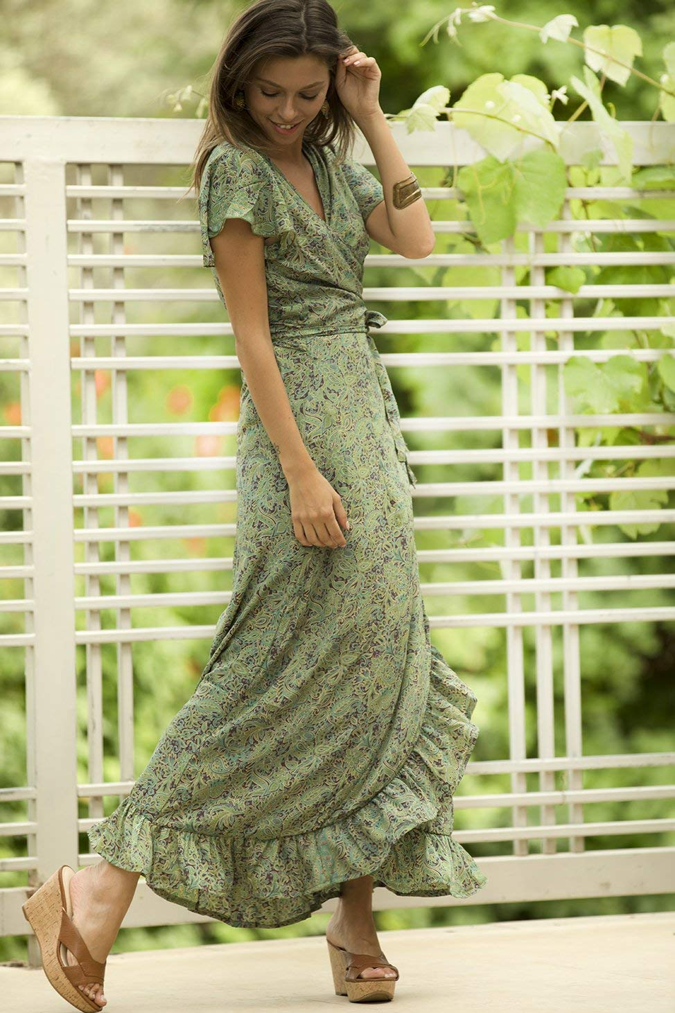 bb20fabb347 Get Quotations · Olive Green Summer Maxi Dress