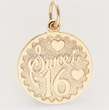 Hot sale gold plated circle sweet 16 logo engraved jewelry tag charm