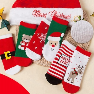 China supplier high quality low price christmas decoration 6 Pairs Christmas Children Cotton Socks Anti-pilling Thickening