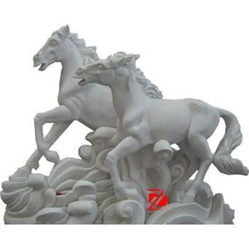 White Stone Garden Horse Statue Running On Sea