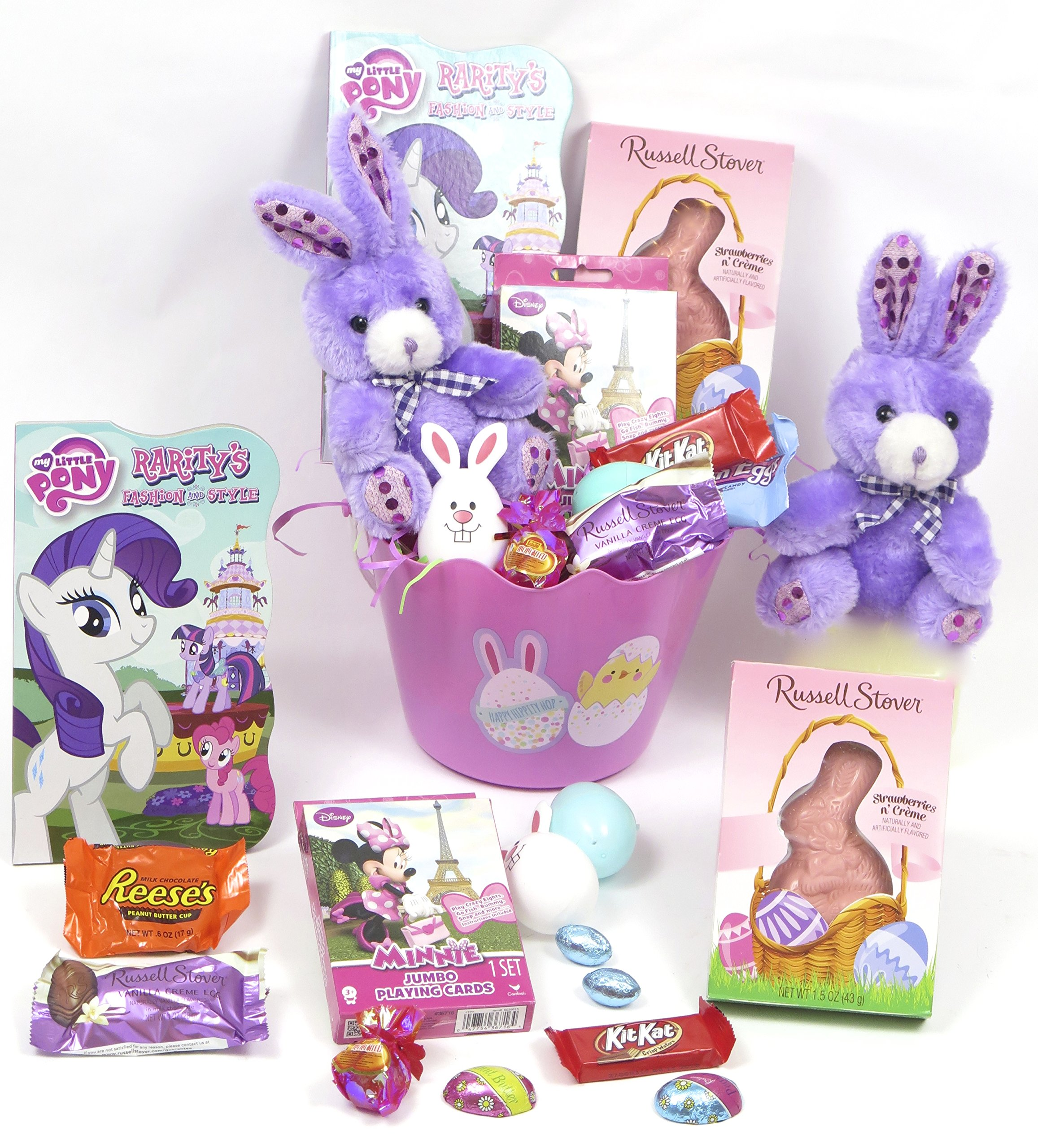 Girl's My Little Pony Pink Easter Basket, Includes Pony Book, Mickey Puzzle, Russell Stover Easter Chocolate Bunny, plush Bunny, and chocolate bars.