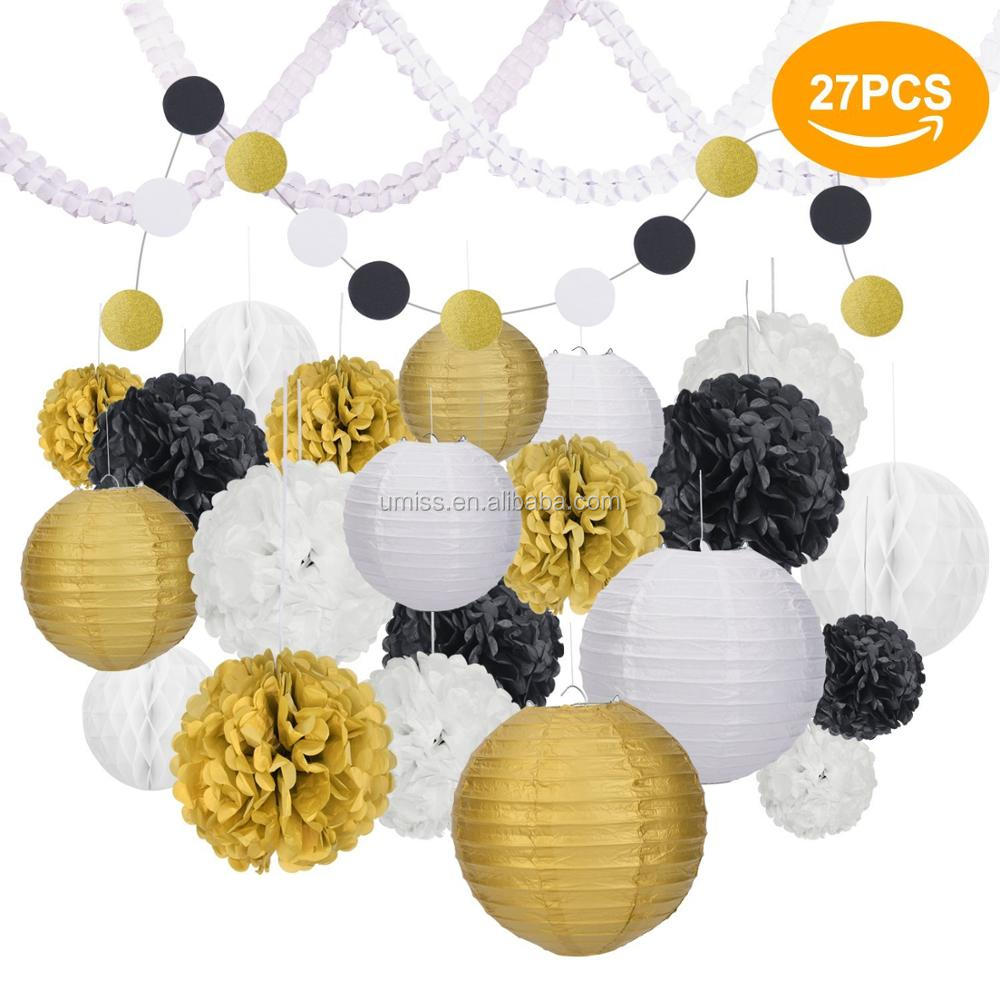 Umiss Paper Lanterns & Flowers,27pcs Various Types Of Tissue Pom ...