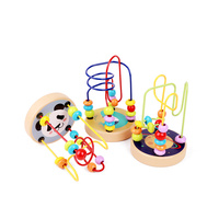 Children colorful intelligent wooden Educational Toy Maze Roller Coaster Beads toy