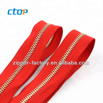 Wholesale high quality nylon red tape metal zipper NO.5 Light Gold teeth zipper Two-way Y Teeth Metal/brass Zipper for bag