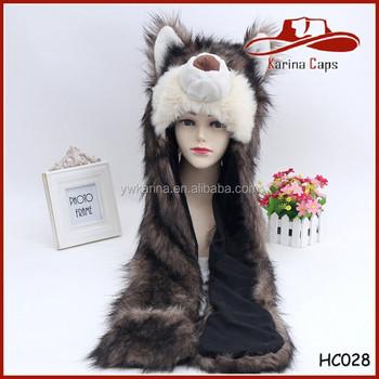 Negro loco Lobo unisex Faux fur animal capucha sombrero bufanda caliente  mitones orejas sombrero conjuntos c197ee7ca25