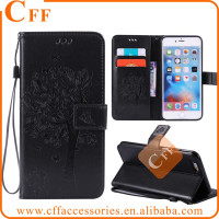 Flower Embossed leather case For iPod Touch 5 6 Cell Phone Wallet Stand PU Leather Shell with Credit Card Slot