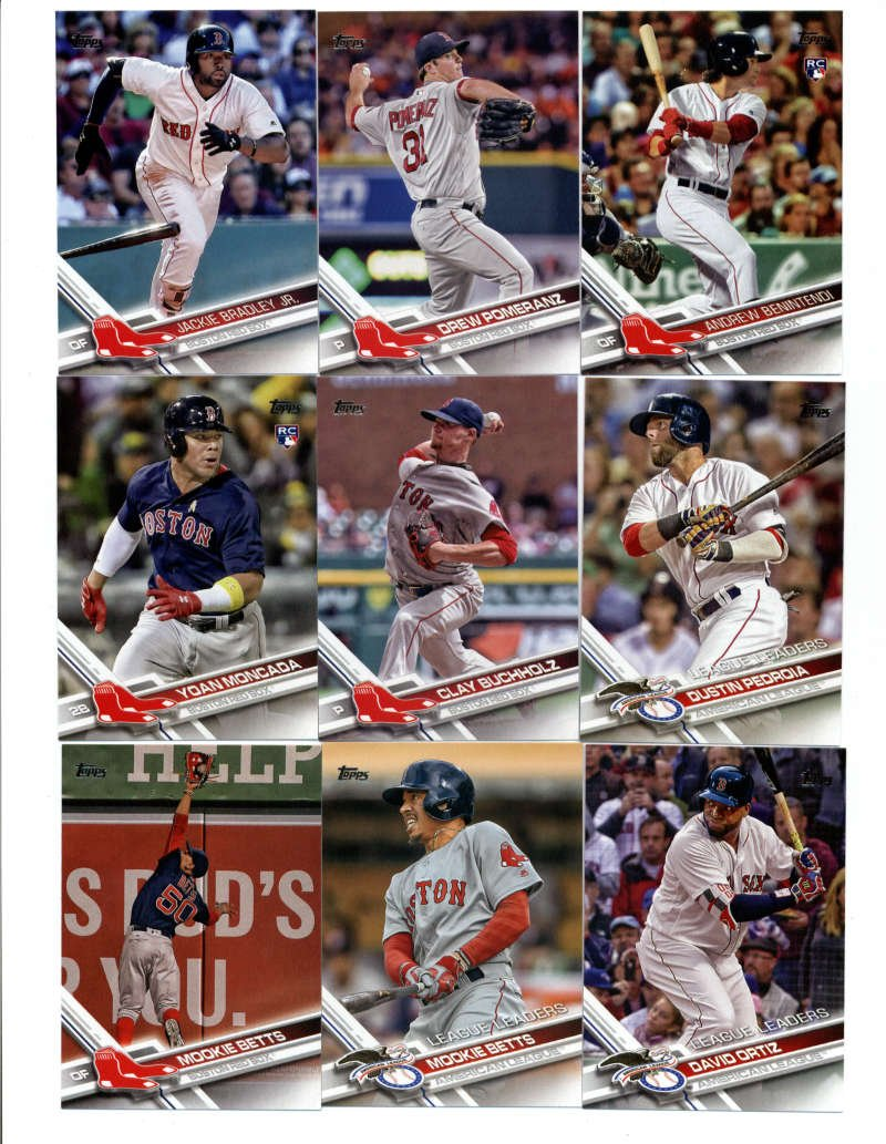 2017 Topps Boston Red Sox Complete Master Team Set of 38 Cards (Series 1, 2, Update): Rick Porcello(#28), Xander Bogaerts(#61), Henry Owens(#69), Dustin Pedroia(#130), Mookie Betts(#161), Rick Porcello(#178), Yoan Moncada(#210), David Ortiz(#229), Mookie Betts(#242), Jackie Bradley Jr.(#245), Clay