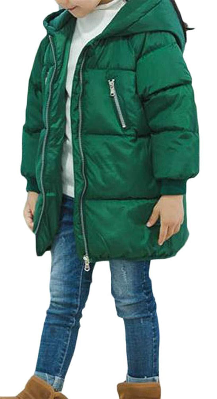 Pandapang Girls Down Hoodid Warm Pocket Cute Quilted Zipper Jacket Parka Coat