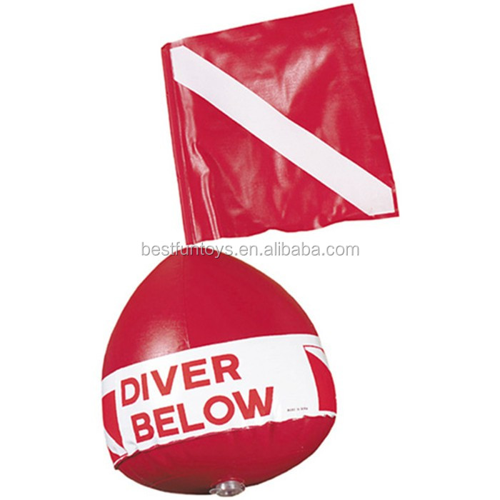 vinyl inflatable flag with float Scuba diving diver below inflatable signal floater float dive flag red buoy ball dive down flag