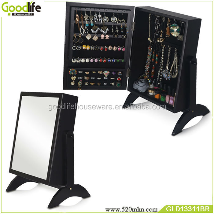Wooden mirrored jewelry cabinet jewelry armoire makeup box jewelry
