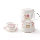 Persian tea infuser glass teapot pink bone china cup ceramic porcelain tea set