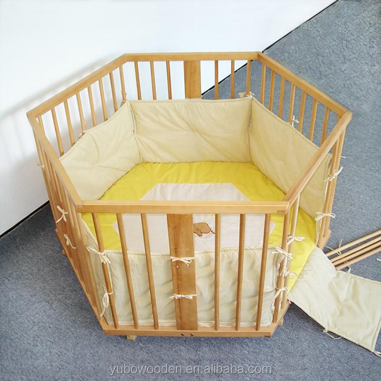 European Infant Wooden Bed Guard Fence Frame Kids Play Center Yard ...