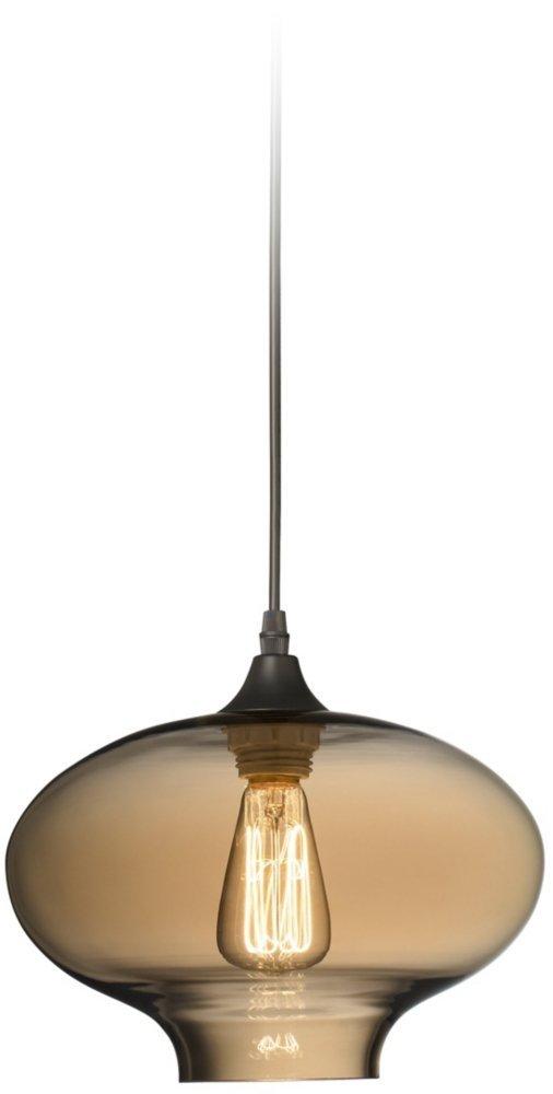"Possini Euro Engels 11"" Wide Amber Glass LED Mini Pendant"
