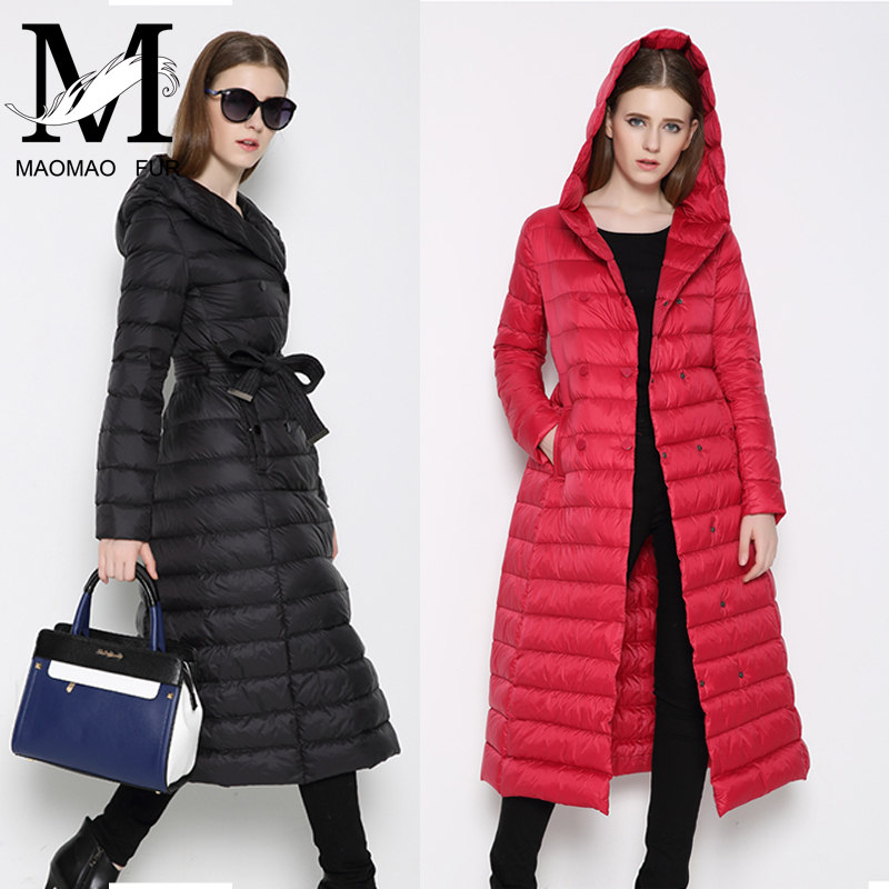 Wholesale Fashion Women's Long Parka Down Feather Thicken Winter Warm Long Down Coat