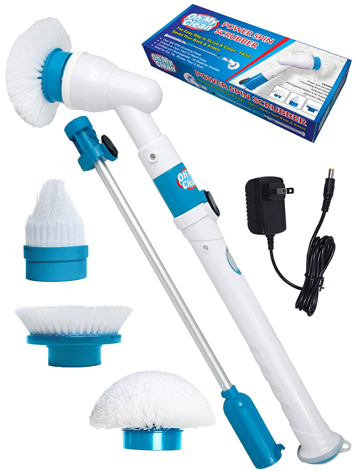 Power Spin Scrubber Cleaning Brush - Upgraded Electric Scrubber with 3 Brush Heads, Extension Handle, Rechargeable Battery - Turbo Cordless Handheld Bathroom, Floor, Tile, Shower, Bathtub Cleaner