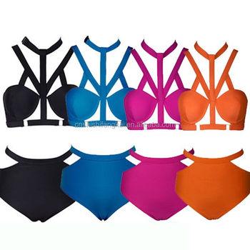 0aa8ca2dde 2015 Neon Swimwear Women Bathing suit High Waist Bikini set Push Up  Swimsuit Sexy Monokini Retro