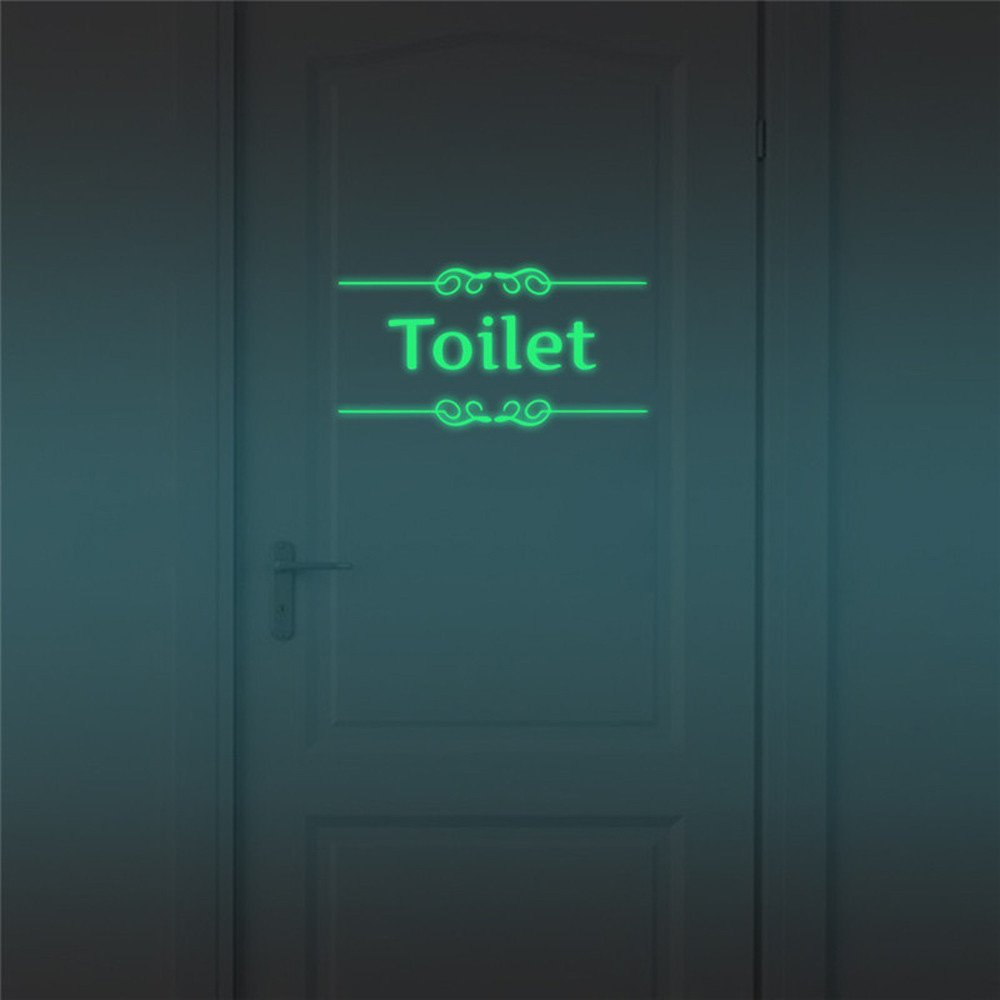 Fenleo Toilet Household Symbol Luminous Wall Sticker Home Decal 13x25.5CM