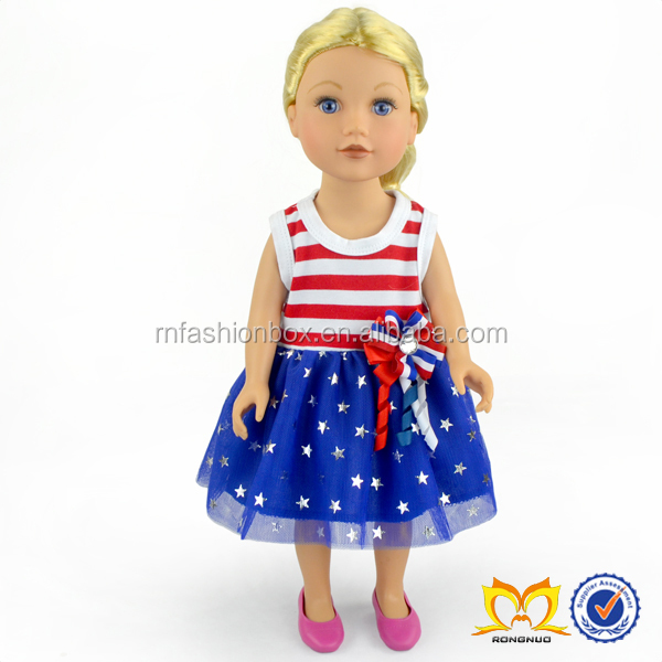 Hot Sale Cotton Doll Clothes 4th Of July American 18 Inch Baby Dolls
