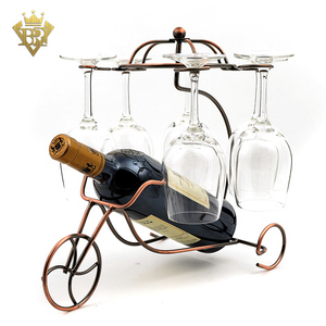 2 in 1 Wine Bottle Glass Rack Single Wine Holder with 6 Wine Glass Racks