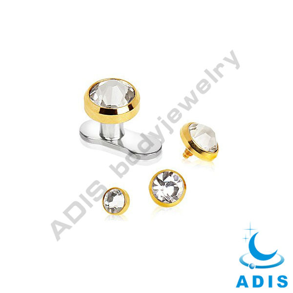 Gold Anodized Dermal Anchor Top With Clear Srystal Anodized Piercing