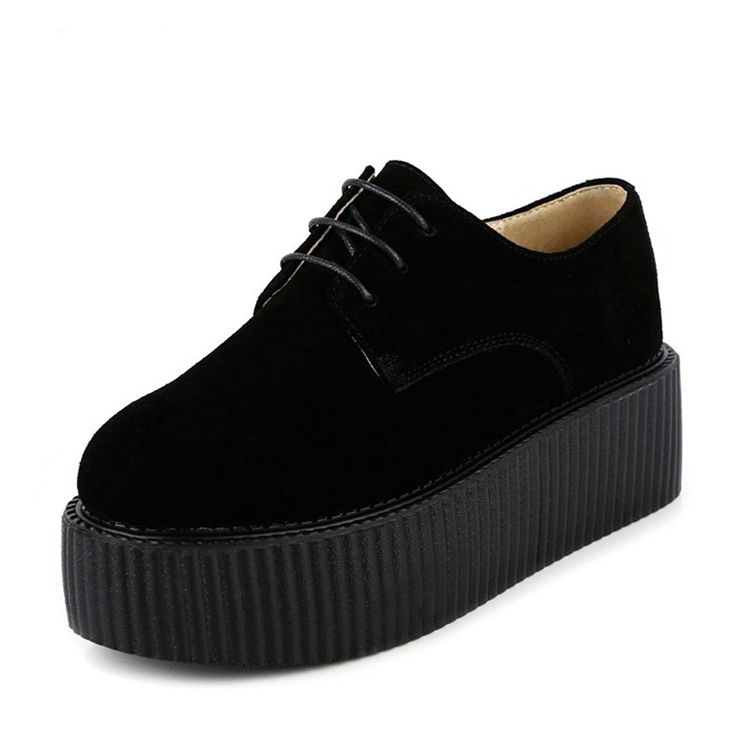 a539cf4d827 Get Quotations · RoseG Women Creepers Suede Lace Up Flats Punk Goth Platform  Oxfords