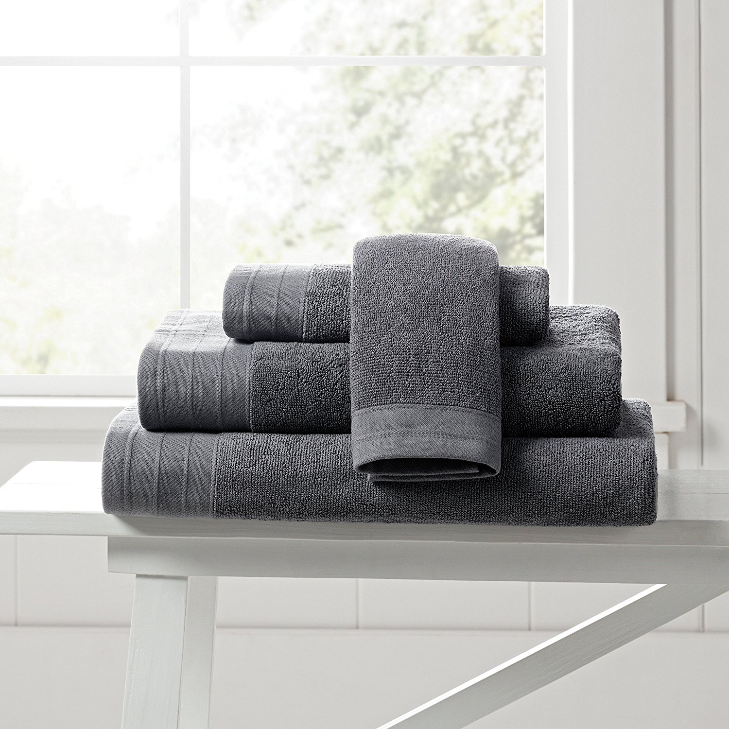 Pure Beech 3-Piece Bath Towel Set – Cotton Modal Blend - Hotel Quality, Bright, Super Soft and Highly Absorbent - Charcoal
