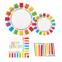 Rainbow Party Supplies Pack for 32 Guests - Including Paper Plates, Cups, and Napkins Custom Paper Tableware Set
