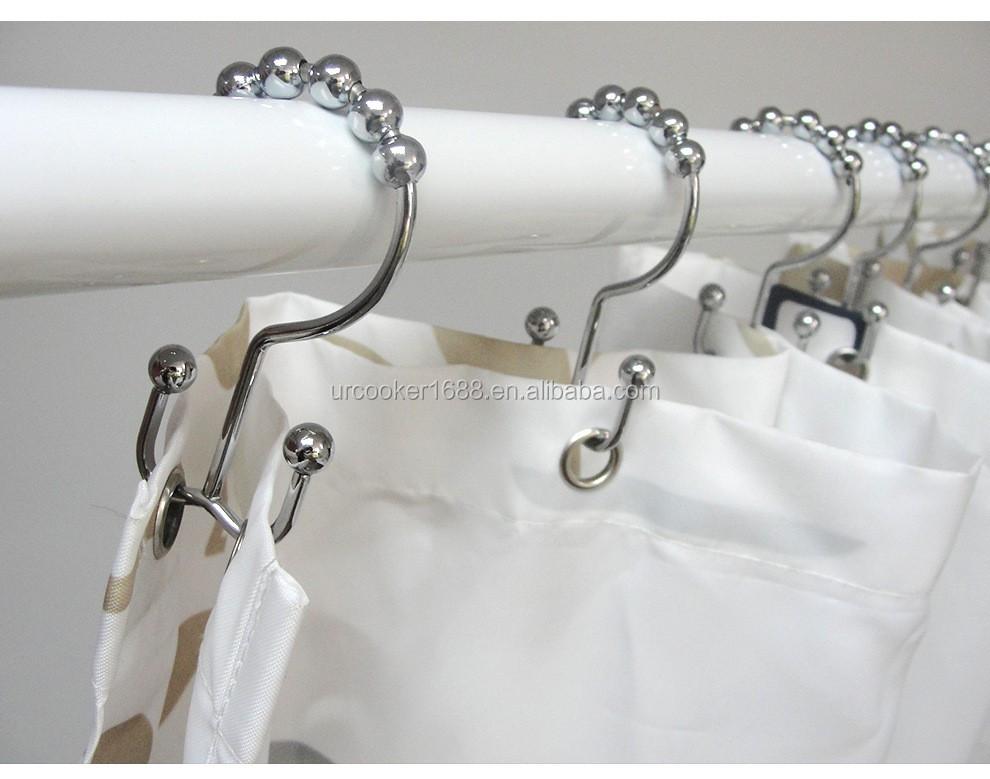 Rustproof Stainless Steel Shower Curtain Rings Hooks Metal Double Glide Shower Ring For Bathroom