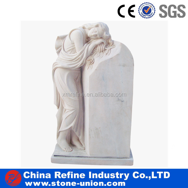 Pink marble angel monuments headstones