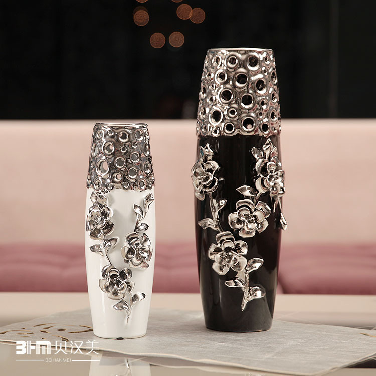 Home decor furnishings ceramic vase modern minimalist silver-plated cylinder vase embossed rose free shipping