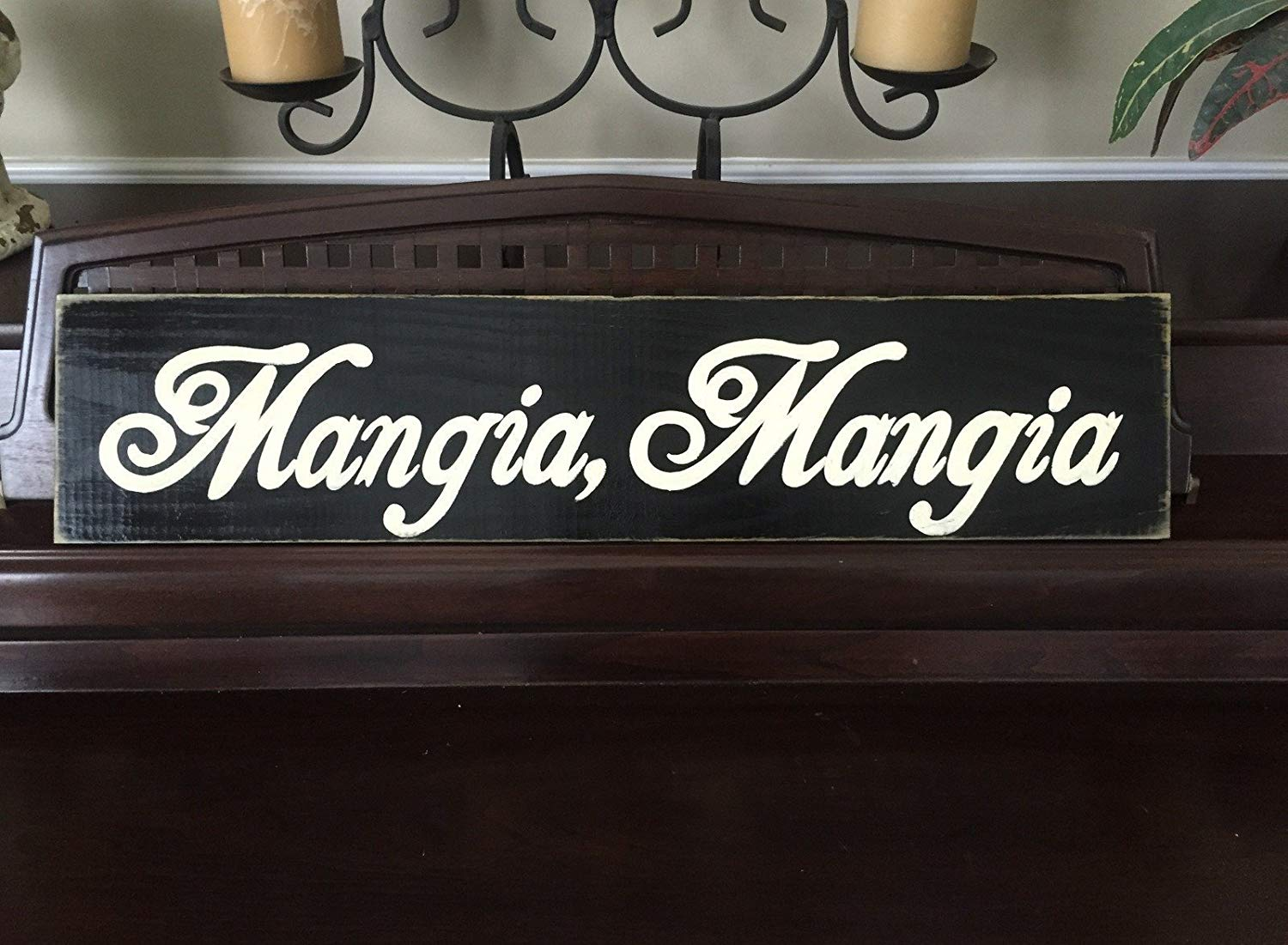 Mangia, Mangia EAT Italian Sign Plaque Italy Chef Foodie Kitchen Food Dining Room You Pick Color Wooden Hand Painted Tuscany FREE SHIPPING