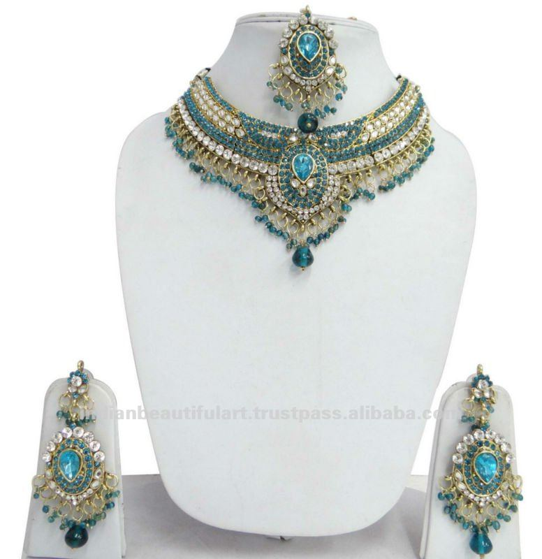 Turquoise Gold Tone Necklace Set Bollywood Jewelry