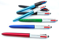 multicolor ball pen ,UV paniting finshed,BIC 4 color ink stylus ball pen