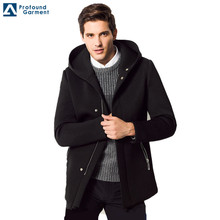 Zip Up Hooded Zwart Wol <span class=keywords><strong>Jacketss</strong></span> <span class=keywords><strong>Voor</strong></span> <span class=keywords><strong>Mannen</strong></span> <span class=keywords><strong>Winter</strong></span>