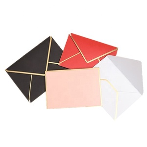 WXF-134 Black red white pink color gold foil edges printing custom gift paper wedding invitation thank you RSVP card envelopes