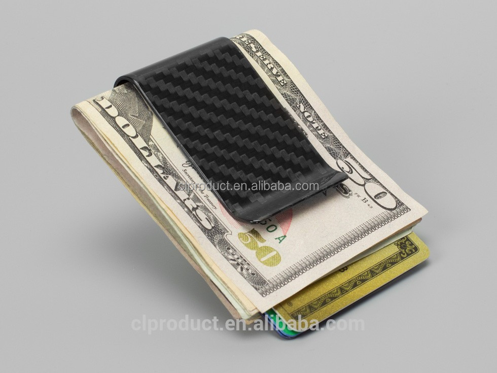 Customized Black Glossy carbon fiber money clip With Promotional Price